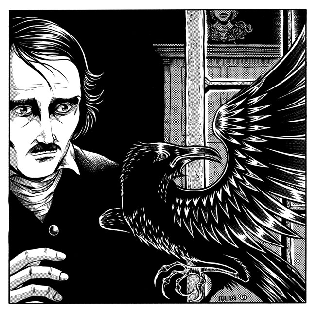 "Fabuleux Illustration for ""The Raven"" from Graphic Classics: Edgar Allan  AZ77"